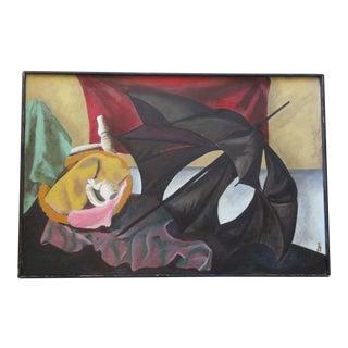 Large Surrealist Painting Modernism Umbrella Composition Mid Century Modern Vtg For Sale