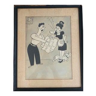 Richard Q. Yardley Framed Cartoon Editorial Print For Sale
