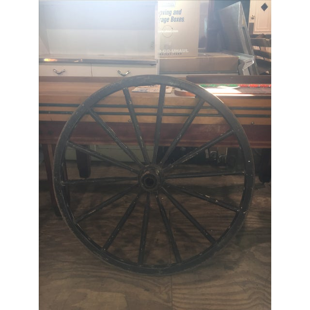 Primitive Large Black Wood Wagon Wheel - Image 5 of 5