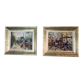 Vintage Mid-Century Modern Parisian Street Scene with Notre Dame Signed Paintings - A Pair For Sale