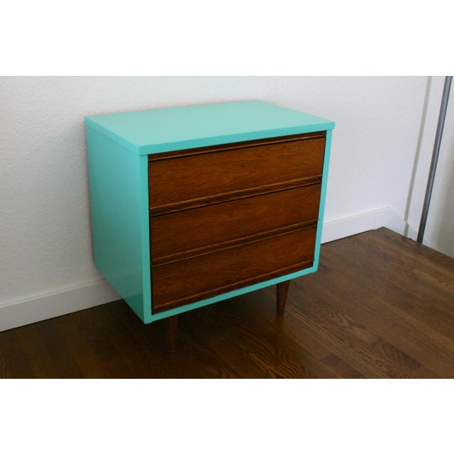 Danish Modern 1960s Danish Modern Dixie Two-Tone Aqua Nightstand For Sale - Image 3 of 8