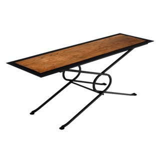 Forged Iron and Oak Coffee/Side Table For Sale