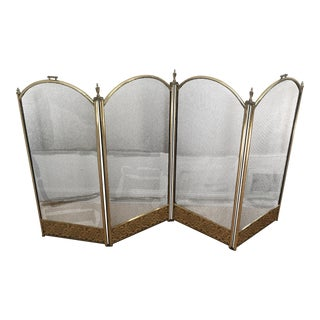 Four Fold Reticulated Brass Fireplace Screen For Sale
