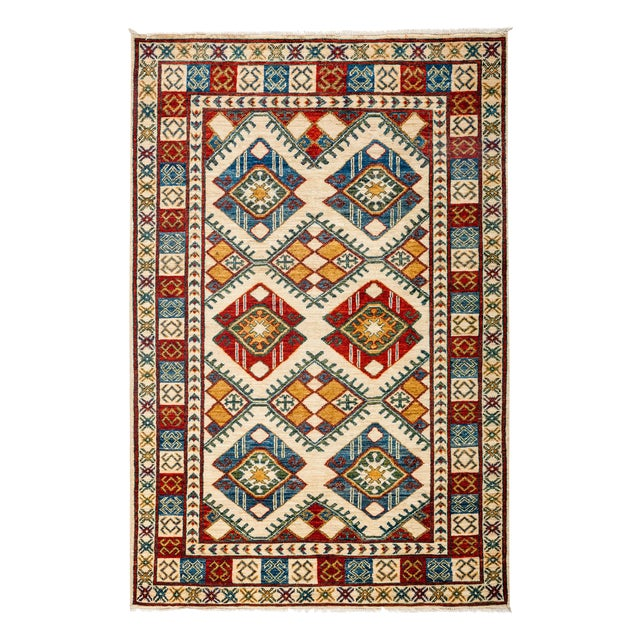 "New Tribal Traditional Hand Knotted Area Rug - 3'10"" x 5'10"" - Image 1 of 3"