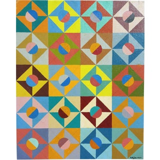 Philip A. Solman Abstract Geometric Painting 1980 For Sale