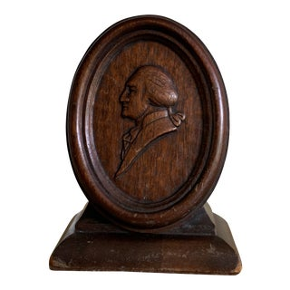 1920s Vintage Hand Carved Wood George Washington Bookend For Sale