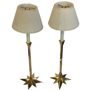Pair of Brass Side Lamps For Sale