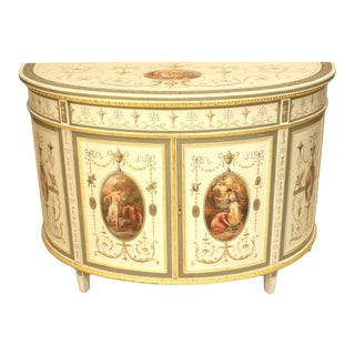 An Finely Painted 19th Century English Adam Style Two Door Cabinet For Sale