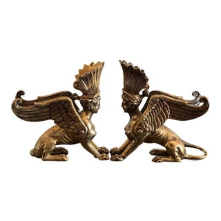 Rare Pair of Solid Sterling Silver Sphinx Sculptures or Figures For Sale