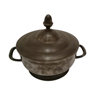 Covered Pewter Bowl with Two Handles