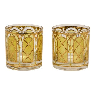 Vintage Gold Glasses by Fred Press - Set of 2 For Sale
