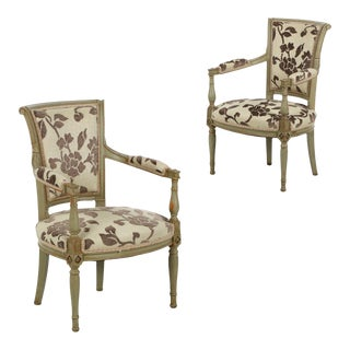 French Directoire Style Green Painted Arm Chairs - A Pair For Sale
