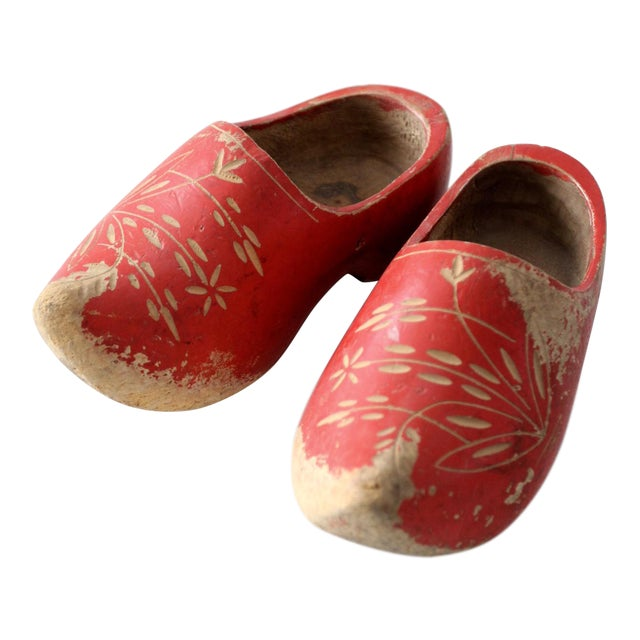 33aa2d2b21a69 Vintage Red Wooden Clogs