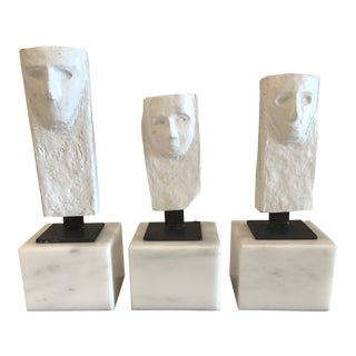 Contemporary White Antigony Face Statues- Set of 3 For Sale