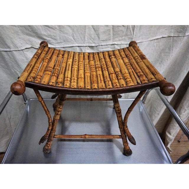 Victorian Burnt Bamboo Stool - Image 3 of 8