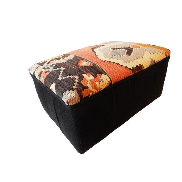 Cotton Tribal Kilim Rug & Mud Cloth Ottoman For Sale - Image 7 of 9