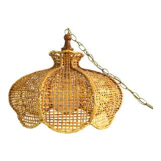 1970s Boho Chic Wicker Rattan Swag Lamp