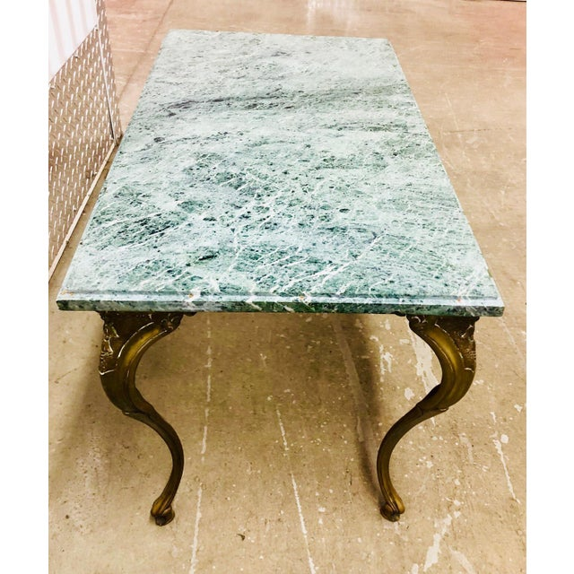 French Louis XV Style Petite Cast Brass Table With Verde Antico Marble Top For Sale - Image 4 of 9