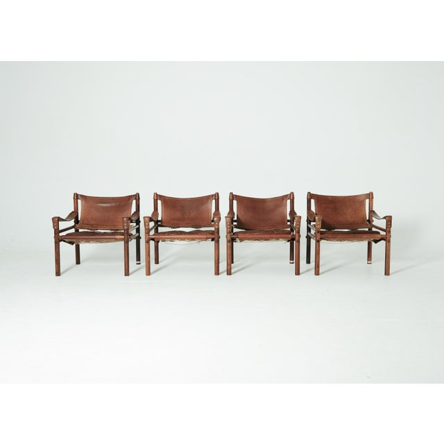 Rare Set of Four Arne Norell Safari Sirocco Chairs, Sweden, 1960s For Sale - Image 6 of 13