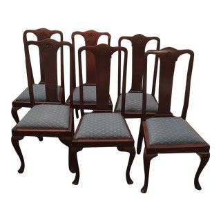 19th Century Vintage Queen Anne Walnut Chairs- Set of 6 For Sale