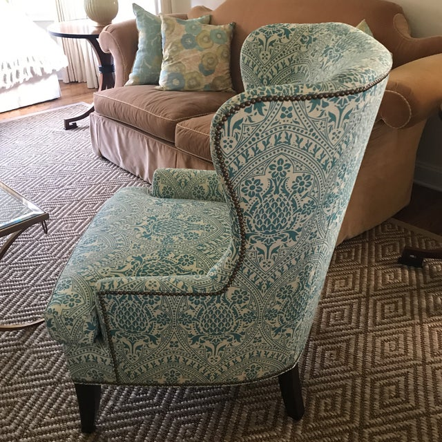 Textile Modern Wingback Chair Quadrille China Seas For Sale - Image 7 of 8