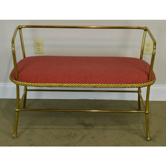 High Quality Vintage Brass Settee with Upholstered Seat
