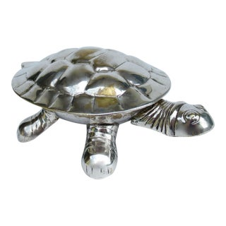 Vintage Silver Plate Lidded Turtle Keepsake Box For Sale