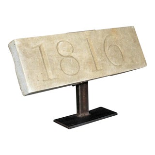 Architectural Stone Date Block Mounted on a Metal Stand For Sale