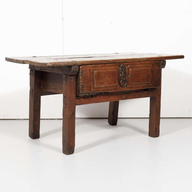 Rustic 18th Century Solid Walnut Spanish Side Table For Sale - Image 3 of 13