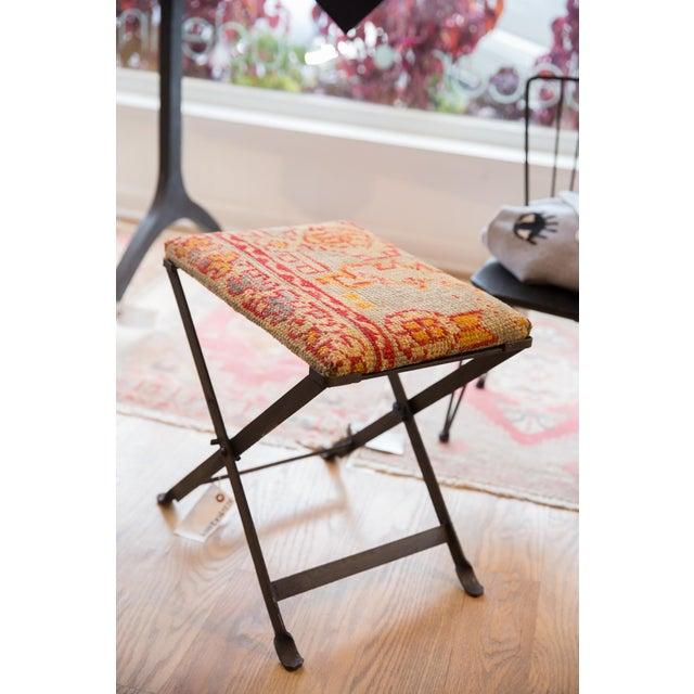 Boho Chic Rug Fragment Footstool For Sale - Image 3 of 8