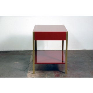 """Contemporary """"Laque"""" Oxblood Lacquer and Brass Night Stand Preview"""
