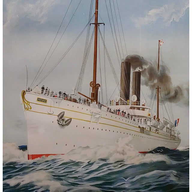 Abel Brun -Messageries Maritimes-Original 1907 Steam Boat French Poster For Sale - Image 4 of 10