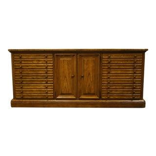 """Stanley Furniture Walnut Mediterranean Transitional Style 72"""" Triple Door Dresser 65-13-07 For Sale"""