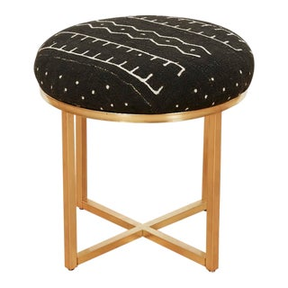 Vintage Brass and Mudcloth Stool or Ottoman, 1990s For Sale