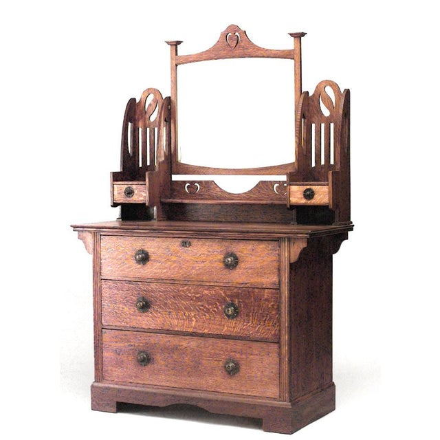 Early 20th Century Early 20th Century English Arts & Crafts Oak Dresser With Mirror For Sale - Image 5 of 5
