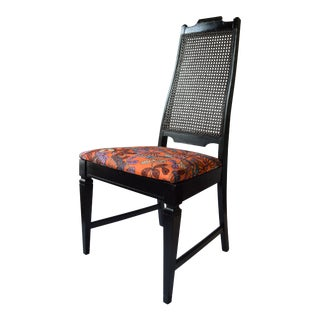 1900s Transitional Ebonised and Caned Dining Chair For Sale