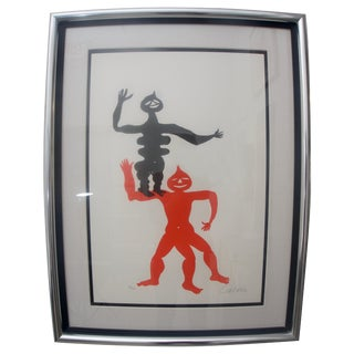 "Mid-Century ""Acrobats"" Lithograph For Sale"