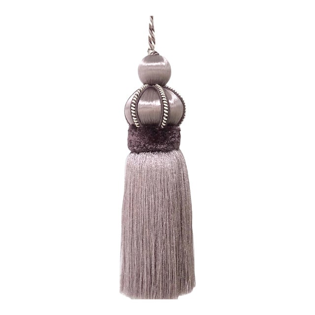 Lavender Key Tassel With Cut Velvet Ruche For Sale