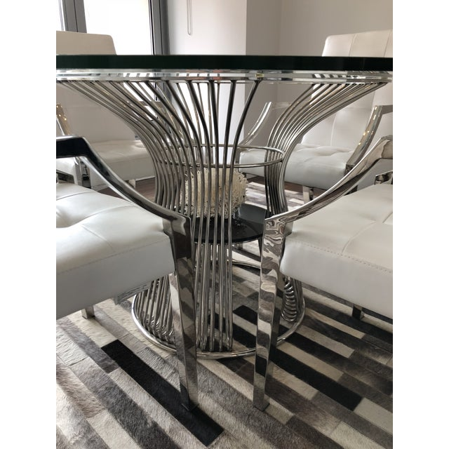 Art Deco Art Deco White Leather Dining Chairs and Glass Table - 5 Piece Set For Sale - Image 3 of 6