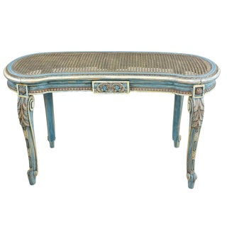 French Louis XVI Style Kidney Shape Vanity or Window Bench French Blue Accents For Sale