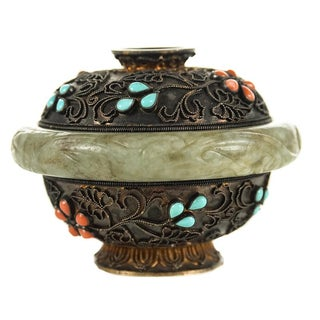 Chinese Ming Jade Bangle with Intricate Box