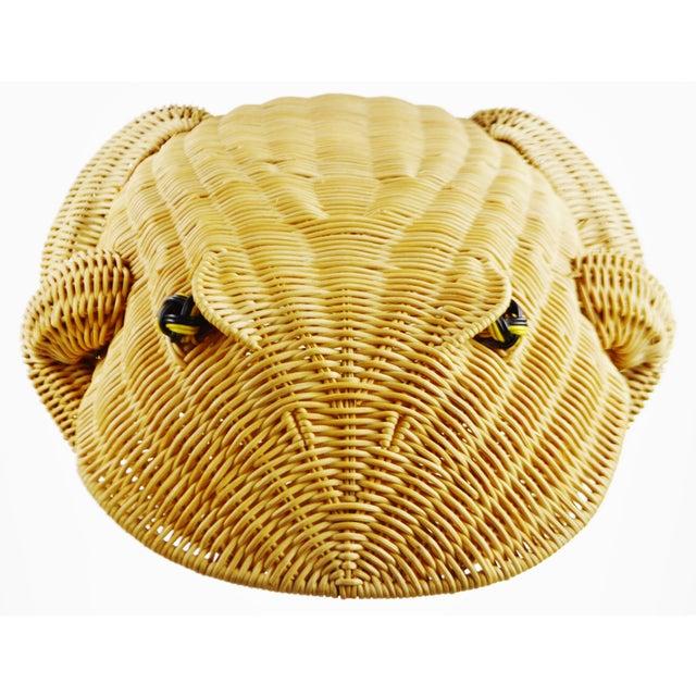 Vintage Natural Wicker Frog Planter Basket For Sale - Image 9 of 13