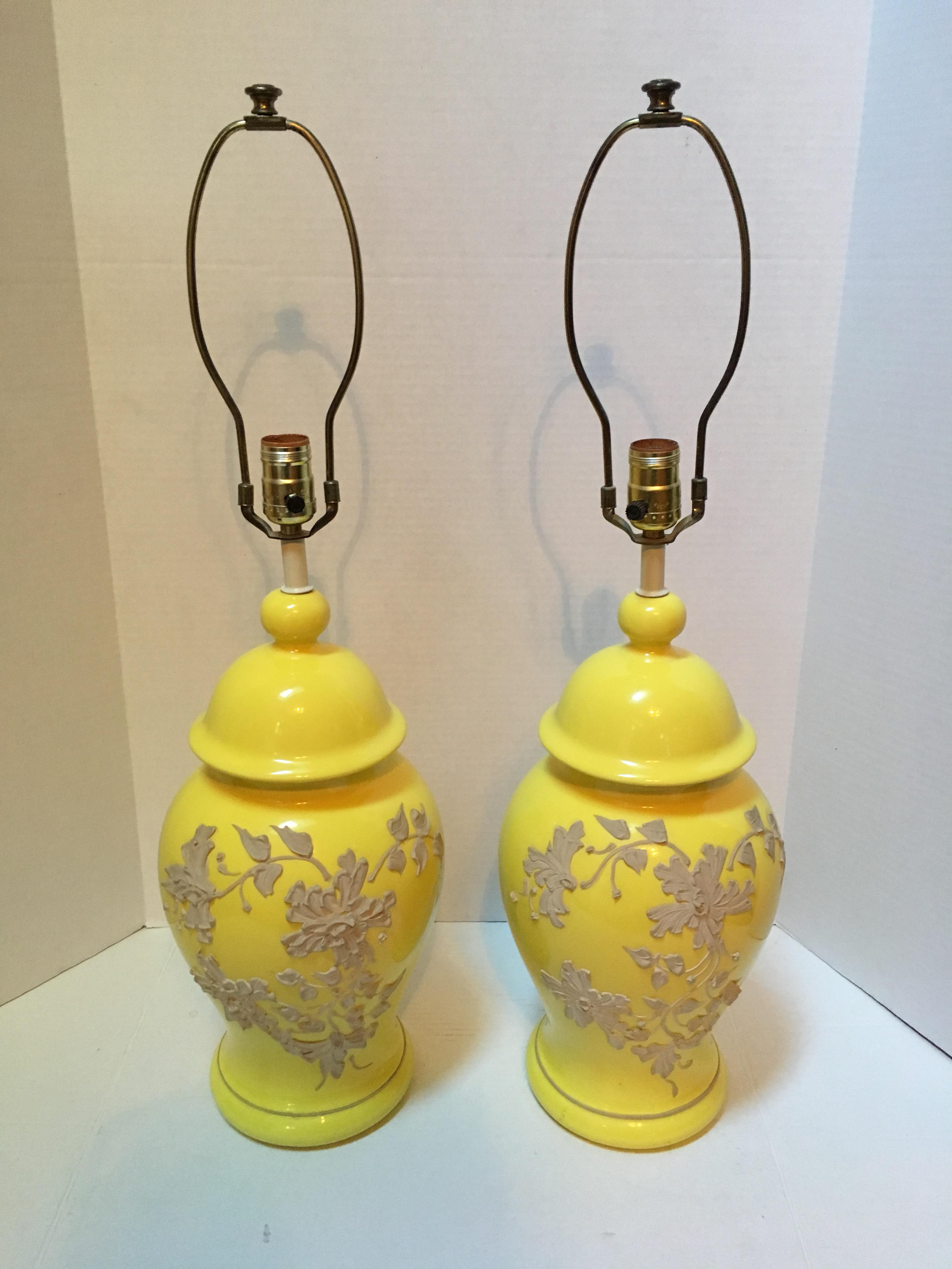 Vintage Yellow Ceramic Ginger Jar Lamps   A Pair   Image 2 Of 11