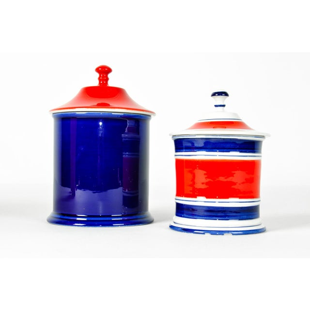 Italian Pair Porcelain Covered Tableware Condiments Piece / Bathroom Canister Piece Set . Just amazing color for any space...