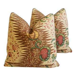 "French Pierre Frey & Scalamandre Velvet Feather/Down Pillows 21"" Square - Pair"