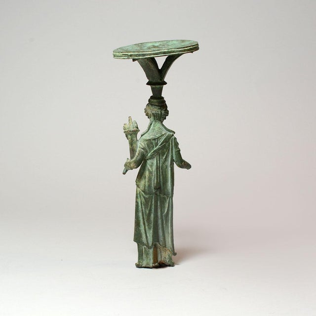 Neoclassical Roman Bronze Lamp Stand Depicting the Goddess Fortuna For Sale - Image 3 of 6