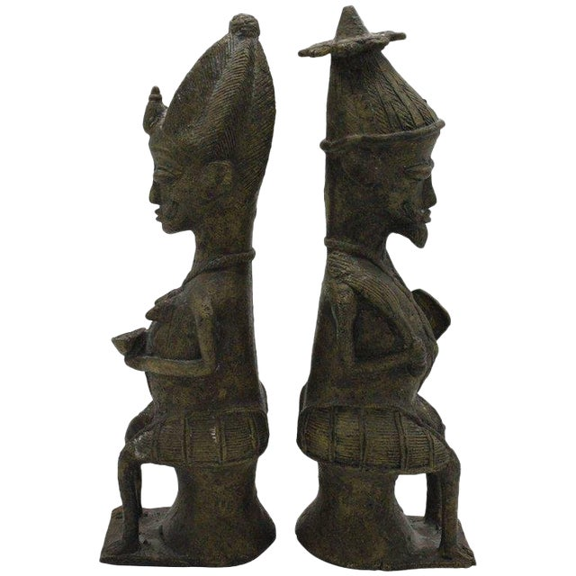 Yoruba Brass Figures for the Ogboni Cult, Nigeria - a Pair For Sale