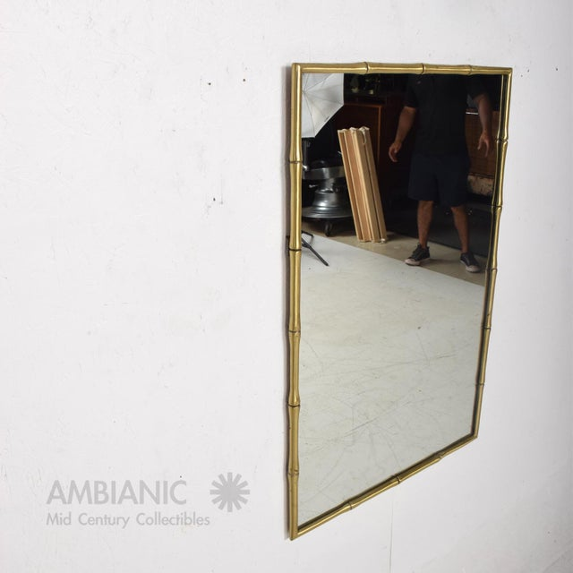 Hollywood Regency Faux Bamboo Brass Mirror Frame For Sale In San Diego - Image 6 of 9