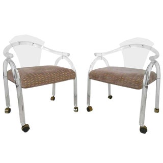 Mid-Century Modern Lucite Side Chairs - A Pair For Sale