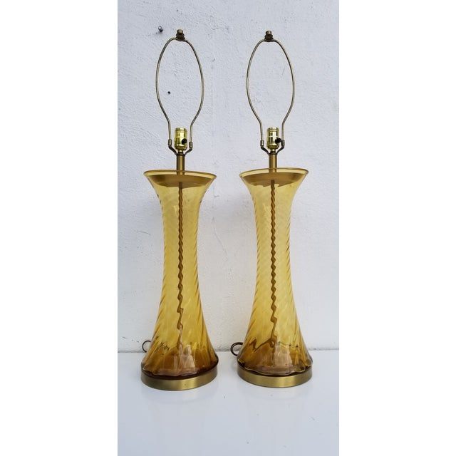 Pair of Tall Vintage Amber Glass Table Lamps For Sale - Image 13 of 13